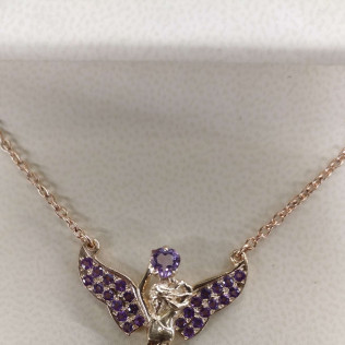 Custom made necklace. Gold, amethyst