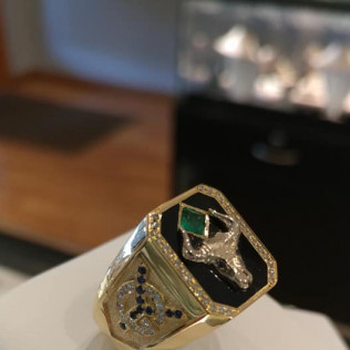 Ring with initials. Gold, enamel, emerald, sapphires, diamonds